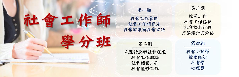 C1F8B0010 社會工作師學分班  社工師(三)12學分平日全修班 / 確定開課,歡迎報名!